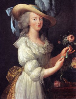 Marie-Antoinette in white muslin dress